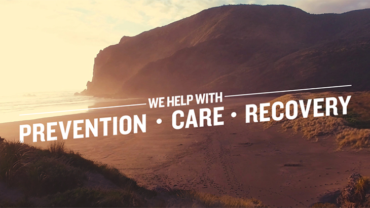 Image of a beach with the words We help with Prevention, Care & Recovery