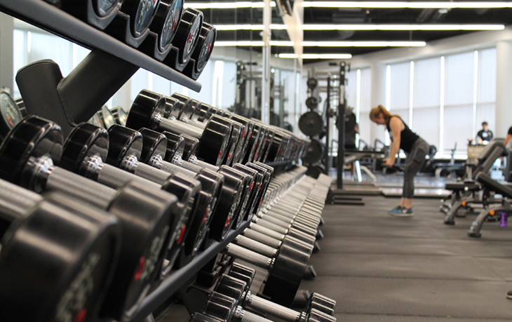 A row of weights in a gym